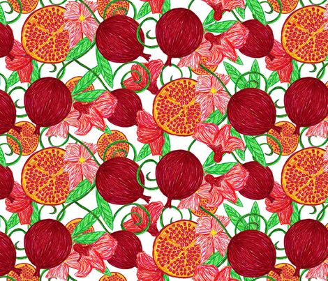 Pomegranate tree ~ white background fabric by glanoramay on Spoonflower - custom fabric