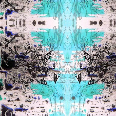 Aqua sketch fabric by maryo on Spoonflower - custom fabric