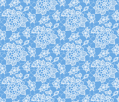 White lace flower on blue  fabric by victorialasher on Spoonflower - custom fabric