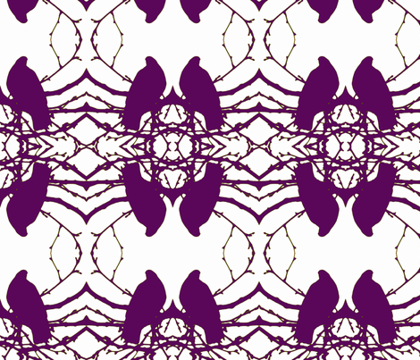 Birds, purple, neutral hints fabric by katiemadeit on Spoonflower - custom fabric