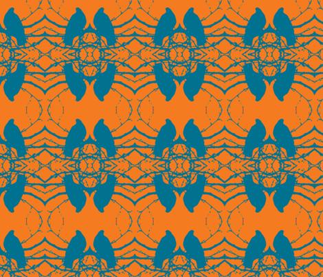 Birds, orange, turquoise fabric by katiemadeit on Spoonflower - custom fabric