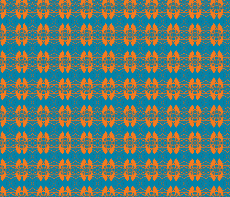Birds, turquoise, orange fabric by katiemadeit on Spoonflower - custom fabric
