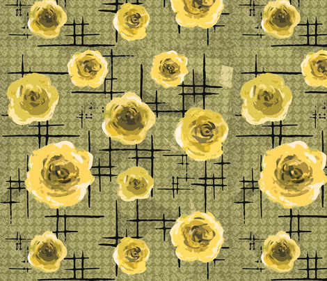 Mid-century yellow roses fabric by lucybaribeau on Spoonflower - custom fabric