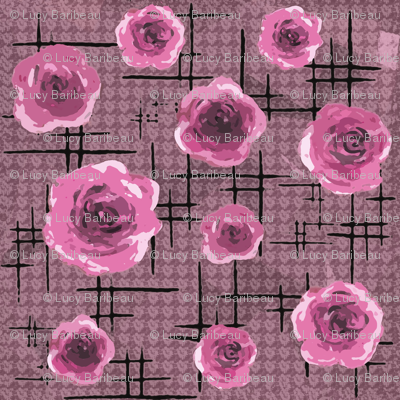 mid-century pink roses