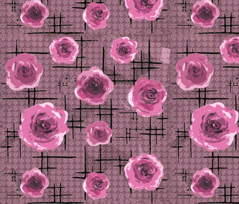 mid-century pink roses fabric by lucybaribeau on Spoonflower - custom fabric