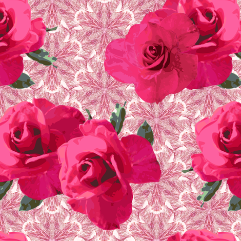 Pink roses on pale lace fabric by bargello_stripes on Spoonflower - custom fabric
