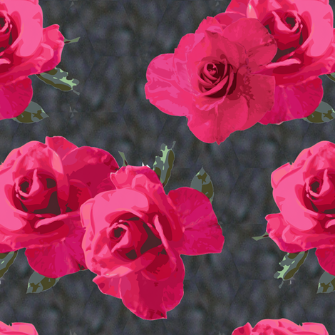 Pink Roses on Castle Stonework fabric by bargello_stripes on Spoonflower - custom fabric