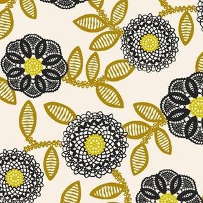 lace floral - cream