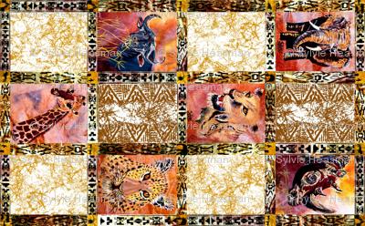 African Wild Animals Fat Quarter on 58 inch fabric.
