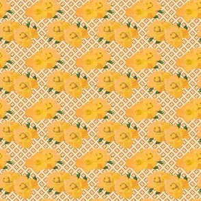Yellow Roses on a Golden Lattice
