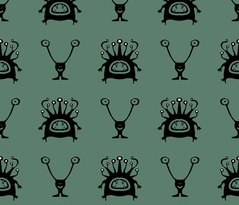 ALIENS!!! fabric by lusykoror on Spoonflower - custom fabric