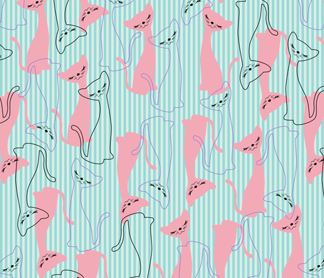 Nifty Kitty - In the Pink fabric by tuppencehapenny on Spoonflower - custom fabric
