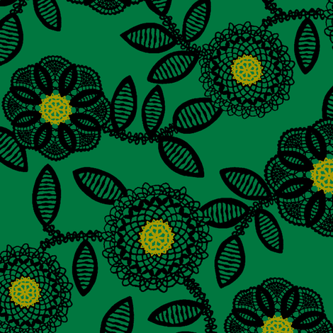 lace floral - emerald fabric by cheyanne_sammons on Spoonflower - custom fabric