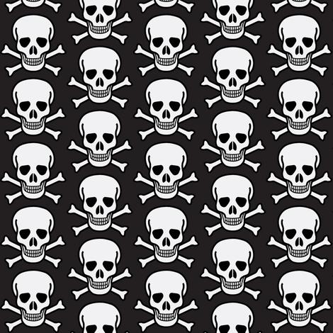 skulls on black fabric by weebeastiecreations on Spoonflower - custom fabric