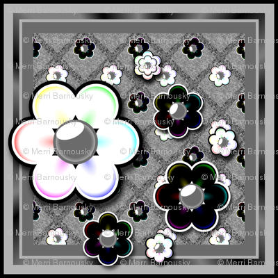 Gray and rainbow floral