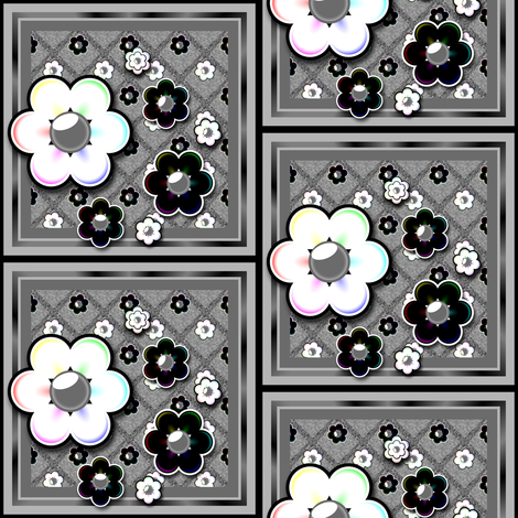 Gray and rainbow floral fabric by bubblequartz on Spoonflower - custom fabric