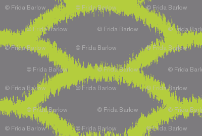 Scallop Ikat in Chartreuse and Gray