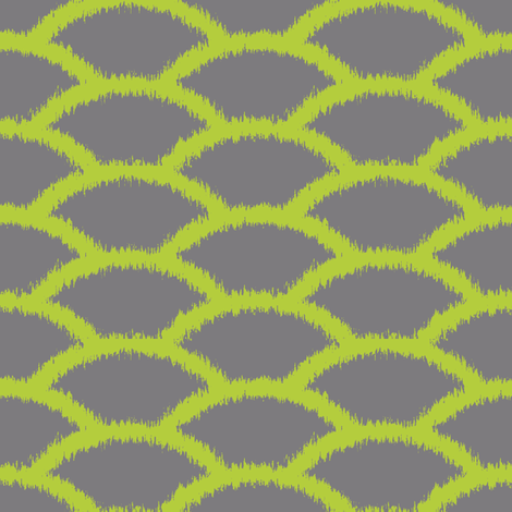 Scallop Ikat in Chartreuse and Gray fabric by pearl&phire on Spoonflower - custom fabric