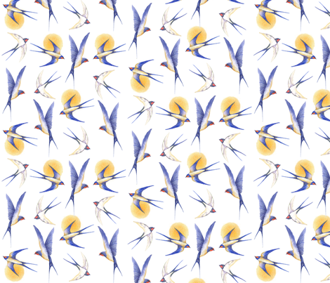 swallows fabric by jan_harbon on Spoonflower - custom fabric