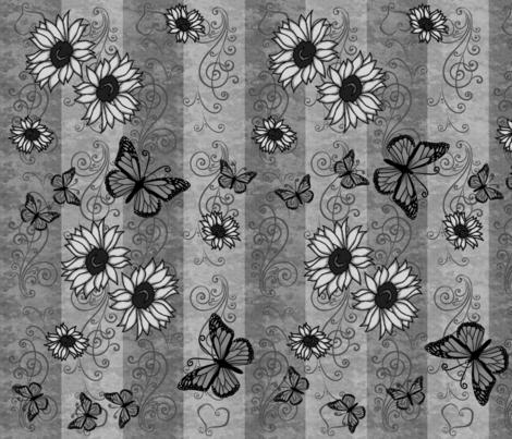 Sunflower Monarch Memories Gray fabric by laurijon on Spoonflower - custom fabric
