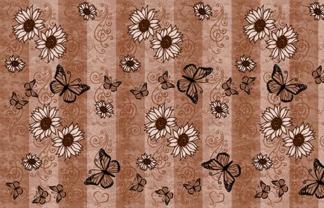 Sunflower Monarch Memories Sepia fabric by laurijon on Spoonflower - custom fabric
