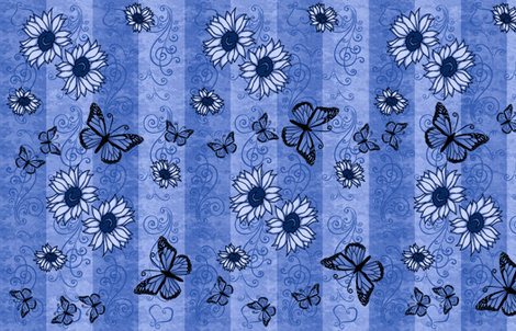 Sunflower Monarch Memories Blue fabric by laurijon on Spoonflower - custom fabric