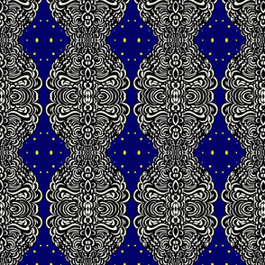 Mirrored Black, White, Blue, Geometric