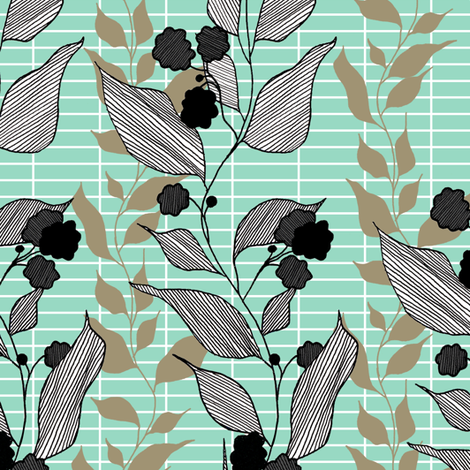 khaki_and_aqua fabric by lauradejong on Spoonflower - custom fabric