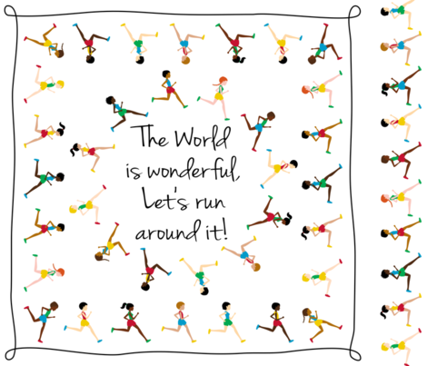 Let's run around the world (sqare scarf) fabric by mariao on Spoonflower - custom fabric
