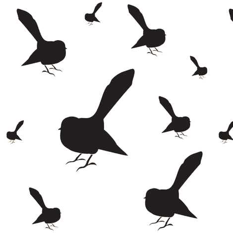 Kiwi Holiday Black Fantails fabric by smuk on Spoonflower - custom fabric