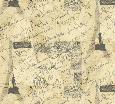 Parisian French Script large fabric by karenharveycox on Spoonflower - custom fabric