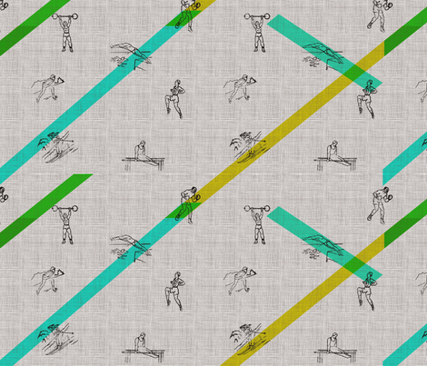 Vintage Olympic Games fabric by legeretdesign on Spoonflower - custom fabric