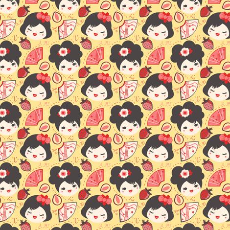 Red Berry Geisha Girls fabric by eppiepeppercorn on Spoonflower - custom fabric