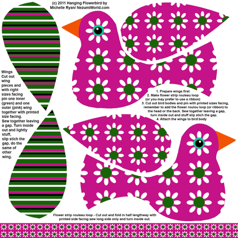 Hanging Flowerbird - Pink fabric by nezumiworld on Spoonflower - custom fabric