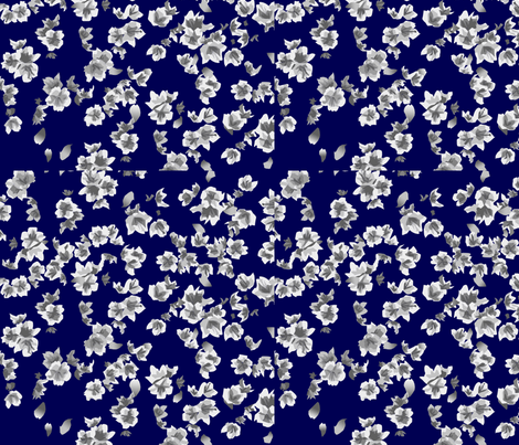 black_and_white_blossom_on_blue fabric by midnightmoon on Spoonflower - custom fabric