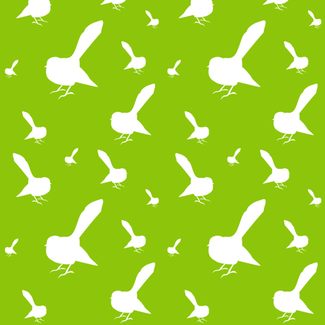 Kiwi Holiday White Chocolate Lime Fantails fabric by smuk on Spoonflower - custom fabric