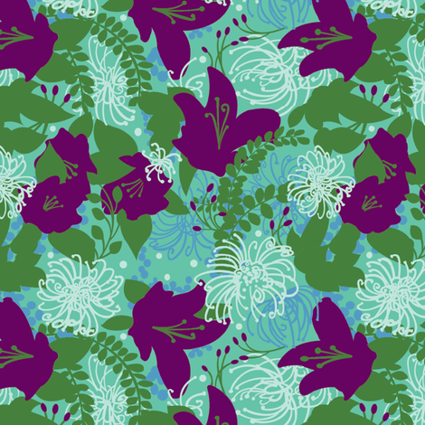 crazy_flowers purple fabric by julistyle on Spoonflower - custom fabric