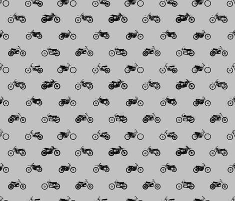 Classic Motorcross Bikes Grey fabric by smuk on Spoonflower - custom fabric