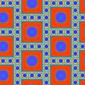 Blue and Orange Tile Mosaic