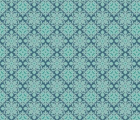 2Papercuts wavy diagonal minagreen-171 darkblue-195  sRGB fabric by mina on Spoonflower - custom fabric