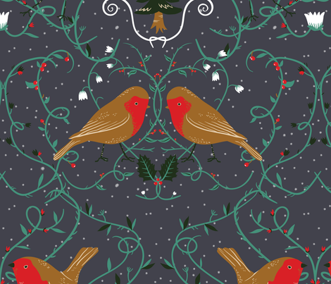 Holiday robins fabric by youngcaptive on Spoonflower - custom fabric