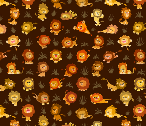 Kawaii Little Lions Brown by Cheerful Madness!! fabric by cheerfulmadness_cartoons on Spoonflower - custom fabric