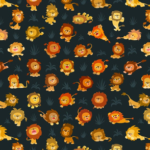 Kawaii Little Lions Dark Slate by Cheerful Madness!!