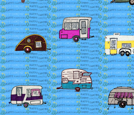 happy camper happy camping blue fabric by mcnall on Spoonflower - custom fabric