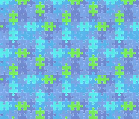 blue_green_autism_puzzle fabric by mysticalarts on Spoonflower - custom fabric