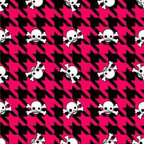 Red Houndstooth & Skulls - Small