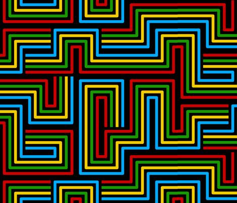 Modern Labyrinth Black fabric by modgeek on Spoonflower - custom fabric