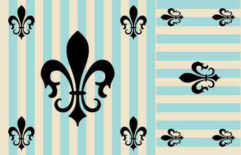 Fleur de Lis Stripe Blue fabric by laurijon on Spoonflower - custom fabric