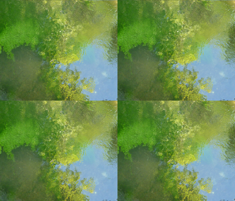 Reflections in a pond, Giverny, France fabric by susaninparis on Spoonflower - custom fabric