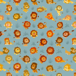 Kawaii Little Lions Light Grey by Cheerful Madness!!